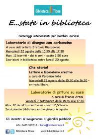 E...state in biblioteca - Laboratorio di pittura su sassi Biblioteca Tione di Trento