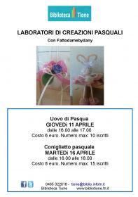 Laboratori di creazioni pasquali con Fattodamebydany - Coniglietto Biblioteca Tione di Trento