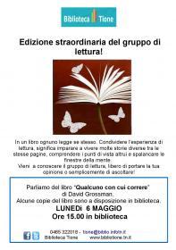 Edizione straordinaria pomeridiana del gruppo di lettura! - Qualcuno con cui correre, Davis Grossman Biblioteca Tione di Trento