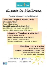 E...state in biblioteca. Pannolenci a tutto fiore con Daniela Botteri. Biblioteca Tione di Trento