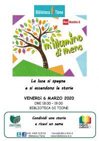 ANNULLATO PER RISPETTO DELLE LINEE GUIDA PAT DPCM dd. 04/03/2020 - M'illumino di meno Biblioteca Tione di Trento
