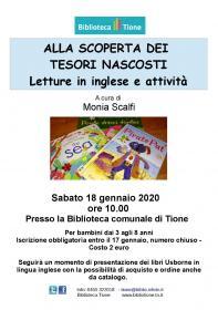 Alla scoperta dei tesori nascosti, letture ed attività in inglese Biblioteca Tione di Trento