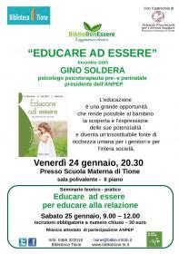 Educare ad essere seminario teorico pratico con Gino Soldera  Biblioteca Tione di Trento