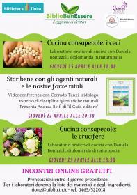 BiblioBenEssere - Laboratorio online di cucina consapevole: i ceci. Con Daniela Bonizzoli. Biblioteca Tione di Trento