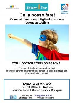 Ce la posso fare! Come aiutare i nostri figli ad avere una buona autostima. Con Corrado Barone.
