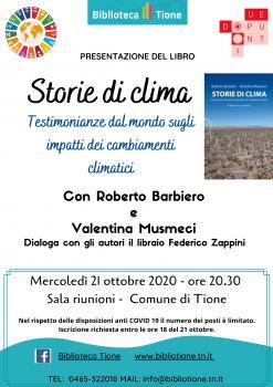 Storie di clima incontro con Roberto Barbiero e Valentina Musmeci