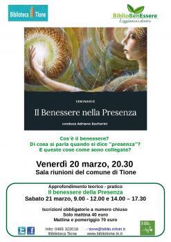 BiblioBenEssere - SEMINARIO Il benessere della presenza con Adriano Bacherini